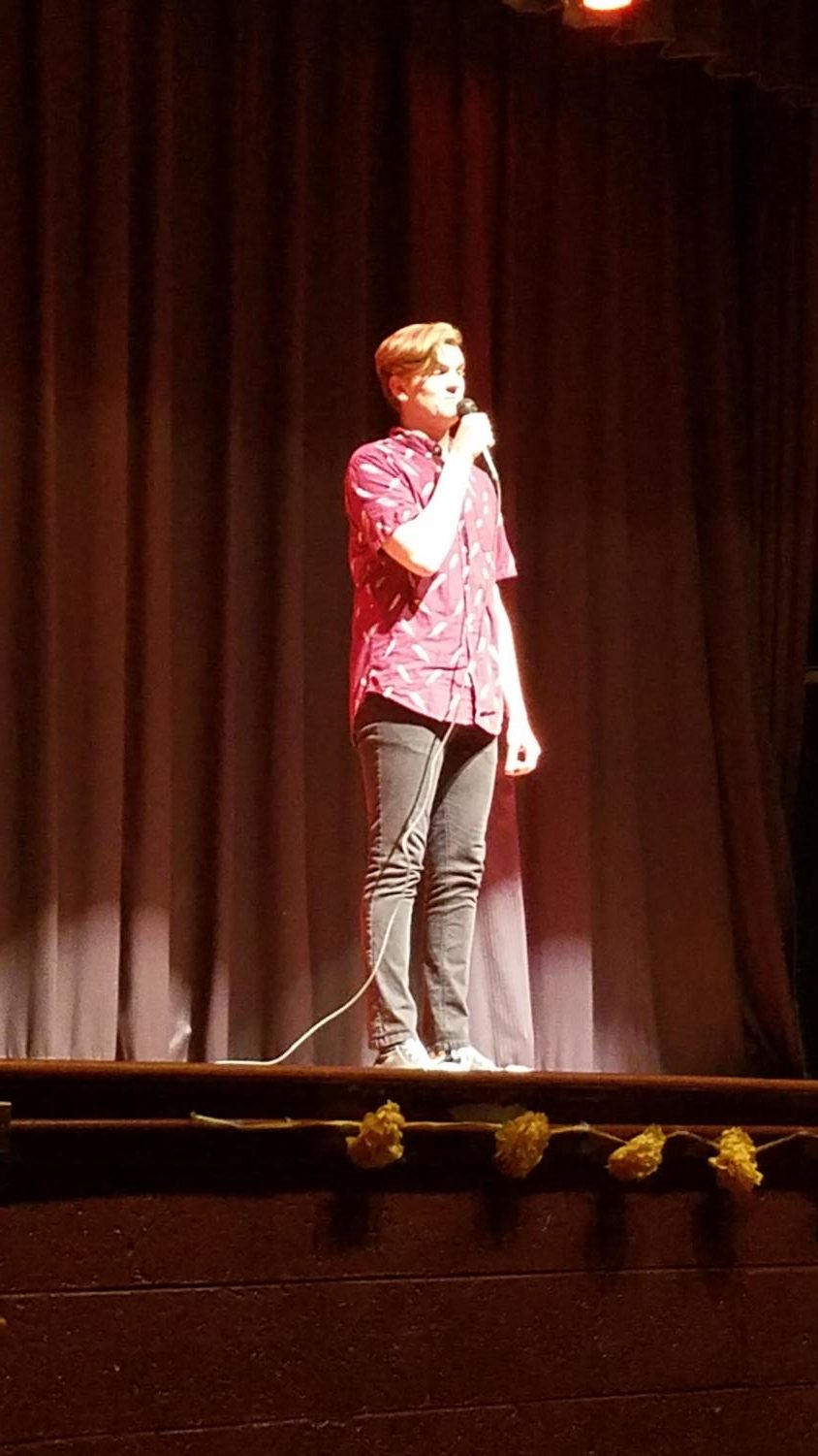 Brian Fisher's amazing voice won first place in this year's talent show.