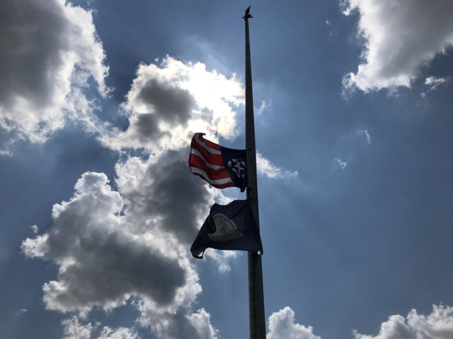 Flags fly at half-mast on 9/11