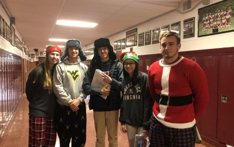 Students celebrate exam day with festive wear and warm hats!